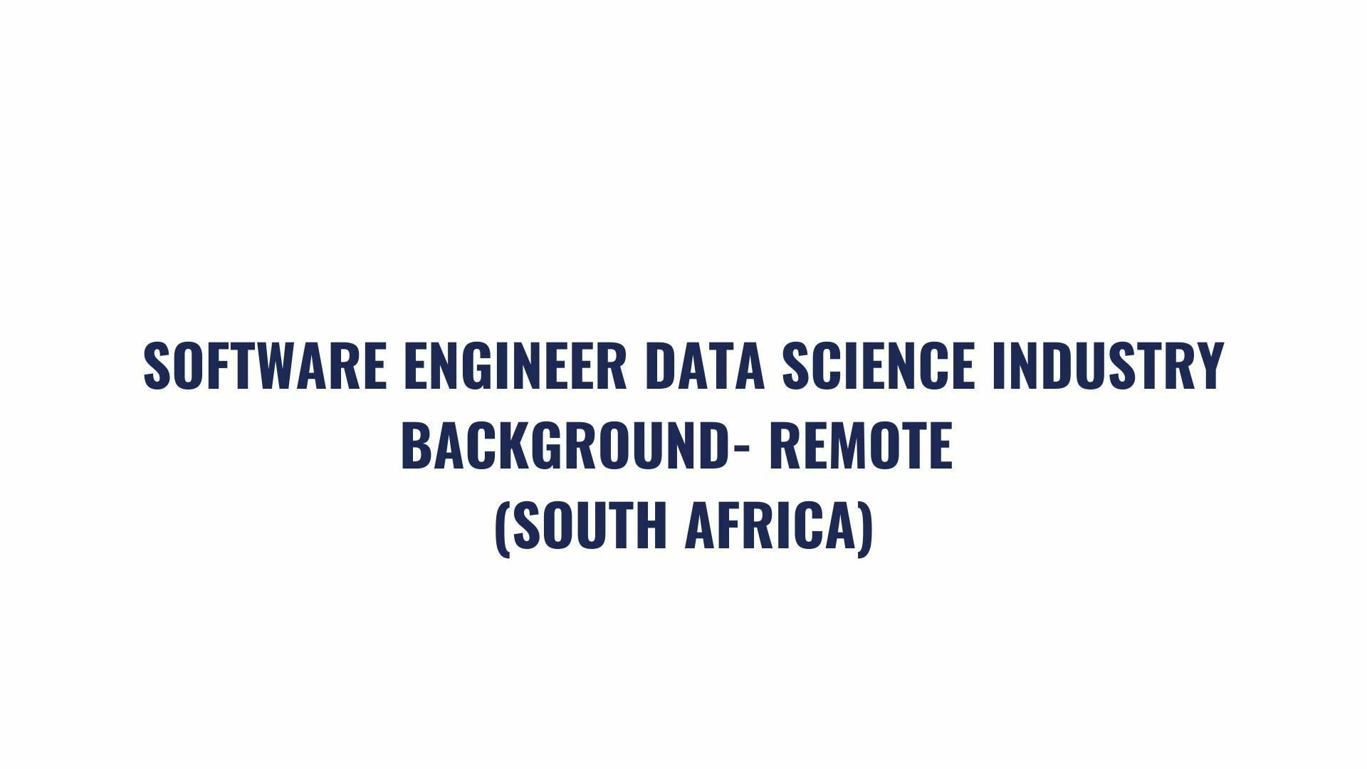 DATA SCIENCE AND DATA ENGINEER JOB OPPORTUNITY